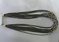 Тёмно-серые бусы из бисера оптом 582
