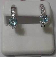 Серебряные серьги с голубым цирконием, родированные Милашка