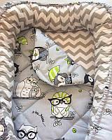 """Кокон для новорожденного """"Черно-зеленые совы"""" со съемным матрасиком"""