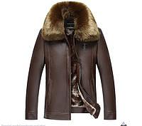 Куртка с натуральной кожи  на овчине.Воротник Енот.