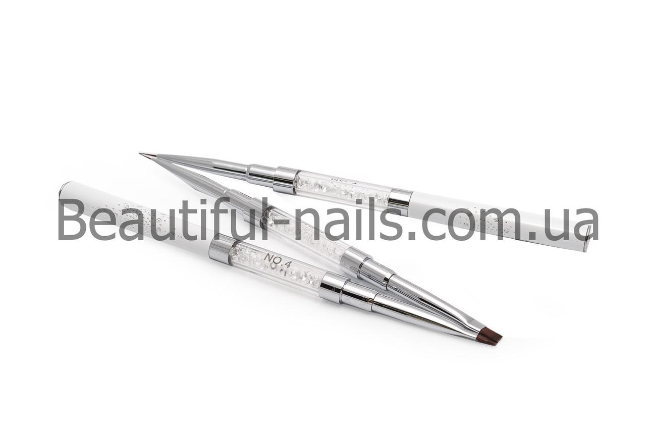 Кисть Double Gel flat 4 (Nylon)/Liner 4 (Nylon