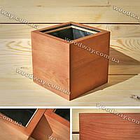 """Модный деревянный вазон для растений """"CUBE"""" с гидробарьером, новая коллекция """"Stylish INTERIOR"""""""