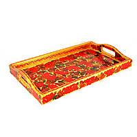 Поднос деревянный Петриковская стилизация ручной работы ручная роспись маленький Калина светлый 9889