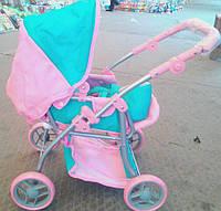 Коляска для кукол 9672 трансформер розово-берюзового цвета