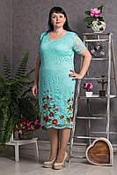 Праздничное платье из гипюра рассшитое цветочной вышивкой