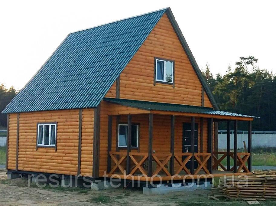 Дачный домик 7м х 7м из блокхауса с мансардой
