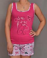 """Розовая пижама женская """"Мур мур"""" комплект домашний майка и шорты хлопок"""