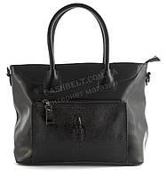 Стильная прочная женская сумка с натуральной кожи и лаковой вставкой с крокодилом art. A053 черная