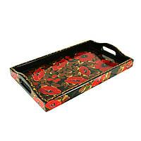 Поднос деревянный Петриковская стилизация ручной работы ручная роспись маленький Мак темный 9890