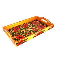 Поднос деревянный Петриковская стилизация ручной работы ручная роспись маленький Мак светлый 9891
