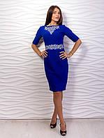 Элегантное женское приталенное платье - Футляр с вышивкой