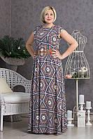 Нарядное женское платье из стрейч-шифона длинное в пол