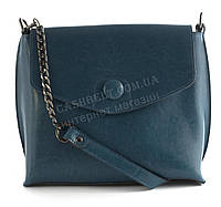 Компактная стильная кожаная женская оригинальная сумка Solana art. 7132 голубая