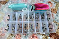 Набор кондитерских насадок 32 шт, 2 гвоздя, 1 переходника 1 мешочка, 4 силиконовые формы, в боксе для хранения