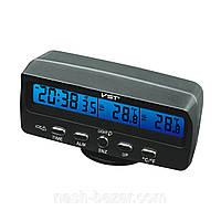 Цифровые автомобильные часы vst-7045, с термометром и будильником, индикация гололеда