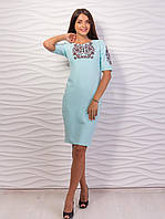 Очень красивое женское трикотажное платье - Футляр с вышивкой