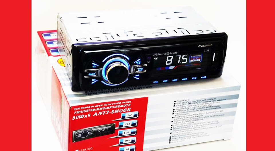 Автомагнитола Pioneer 1138 Usb+Sd+Fm+Aux+ пульт (4x50W)