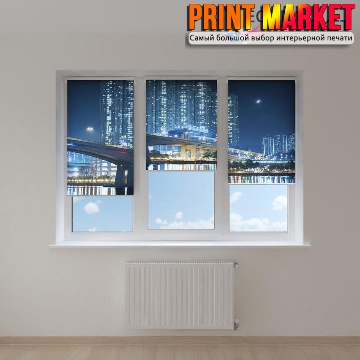 Рулонные шторы с фотопечатью ночные небоскребы