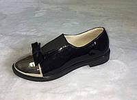 Туфли женские из натуральной лаковой кожи с золотым носком низкий ход