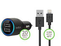 Belkin универсальный USB автомобильный адаптер 2.1A + шнур 2-USB  iPhone