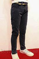 Осенние школьные котоновые брюки темно-синего цвета, для подростков от 8-16 лет(122-176см) Фирма-Smile. Польша