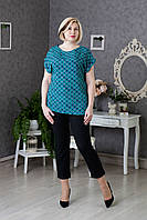 Легкая штапельная блуза бирюзовая с геометрическим принтом