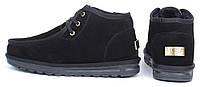 Ботинки топ-сайдеры мужские UGG Australia черные замшевые низкие на шнуровке, Черный, 41