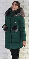 женский зимний  пуховик м-150/1 изумруд