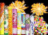 Все для яркого праздника, хлопушки, шарики, свечи, конфетти