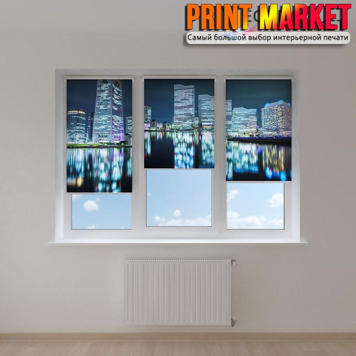Рулонные шторы с фотопечатью большие здания 3D