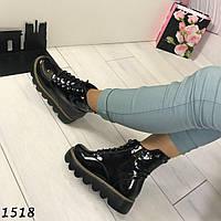 Женские ботинки на шнурках черные АВ-1518