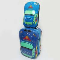 """Набор: Чемодан детский на 2 колесах+ рюкзак """"Авто"""" 18"""""""