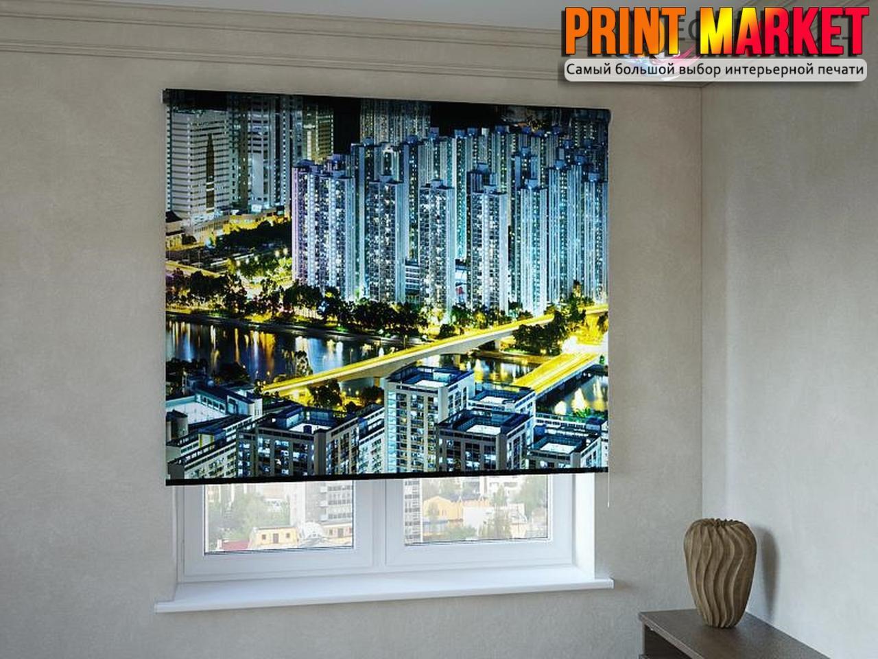 Рулонные шторы с фотопечатью мегаполис 3д