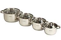 Набор кастрюль Supretto 8 предметов из нержавеющей стали (подходит для всех типов плит)