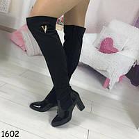Высокие женские сапожки на каблуке черные АВ-1602