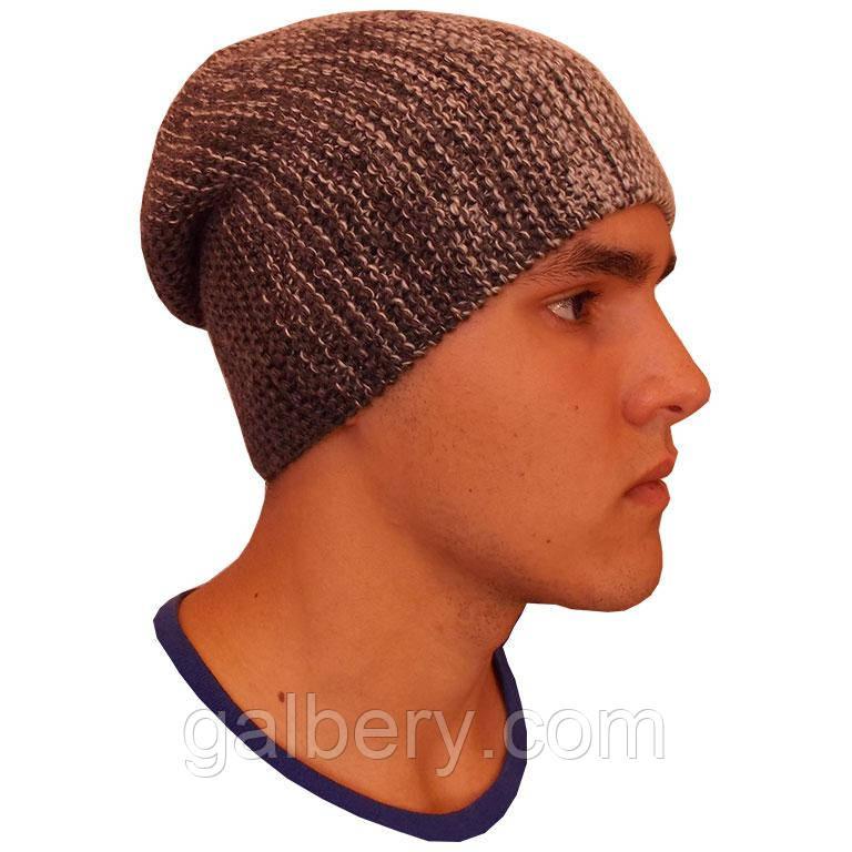 Чоловіча в'язана шапка - носок об'ємної ручної в'язки з градієнтом