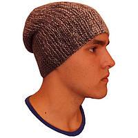 Мужская вязаная шапка - носок объемной ручной вязки с градиентом