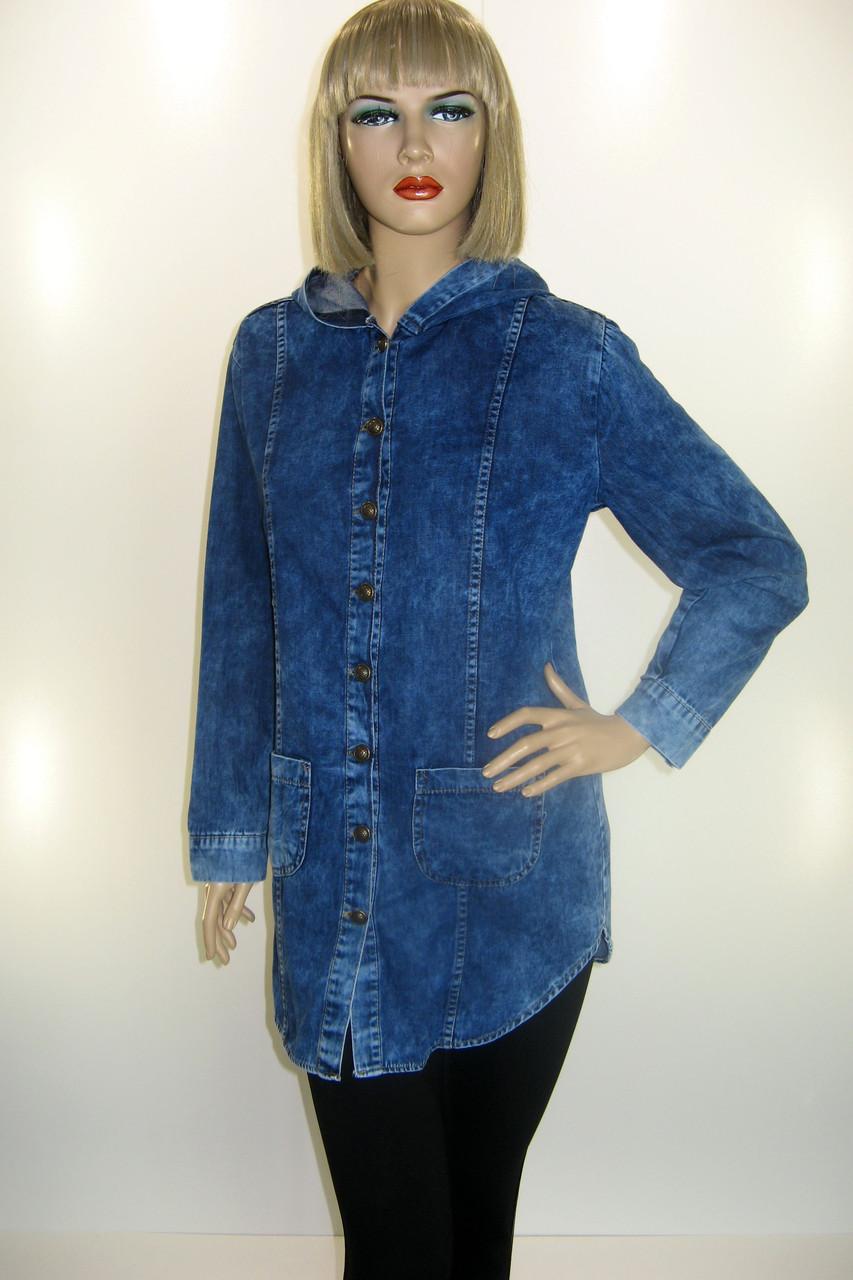 Жіноча джинсова куртка -плащ з капюшоном