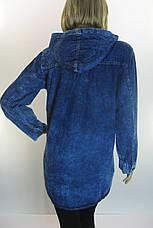 Жіноча джинсова куртка -плащ з капюшоном , фото 2