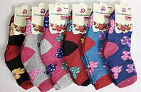 """Махровые носки """"D"""" для девочек. Р-р 20-25. Цветочки."""