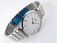 Мужские часы Longines - La Grande серебристые, тонкие, белый циферблат