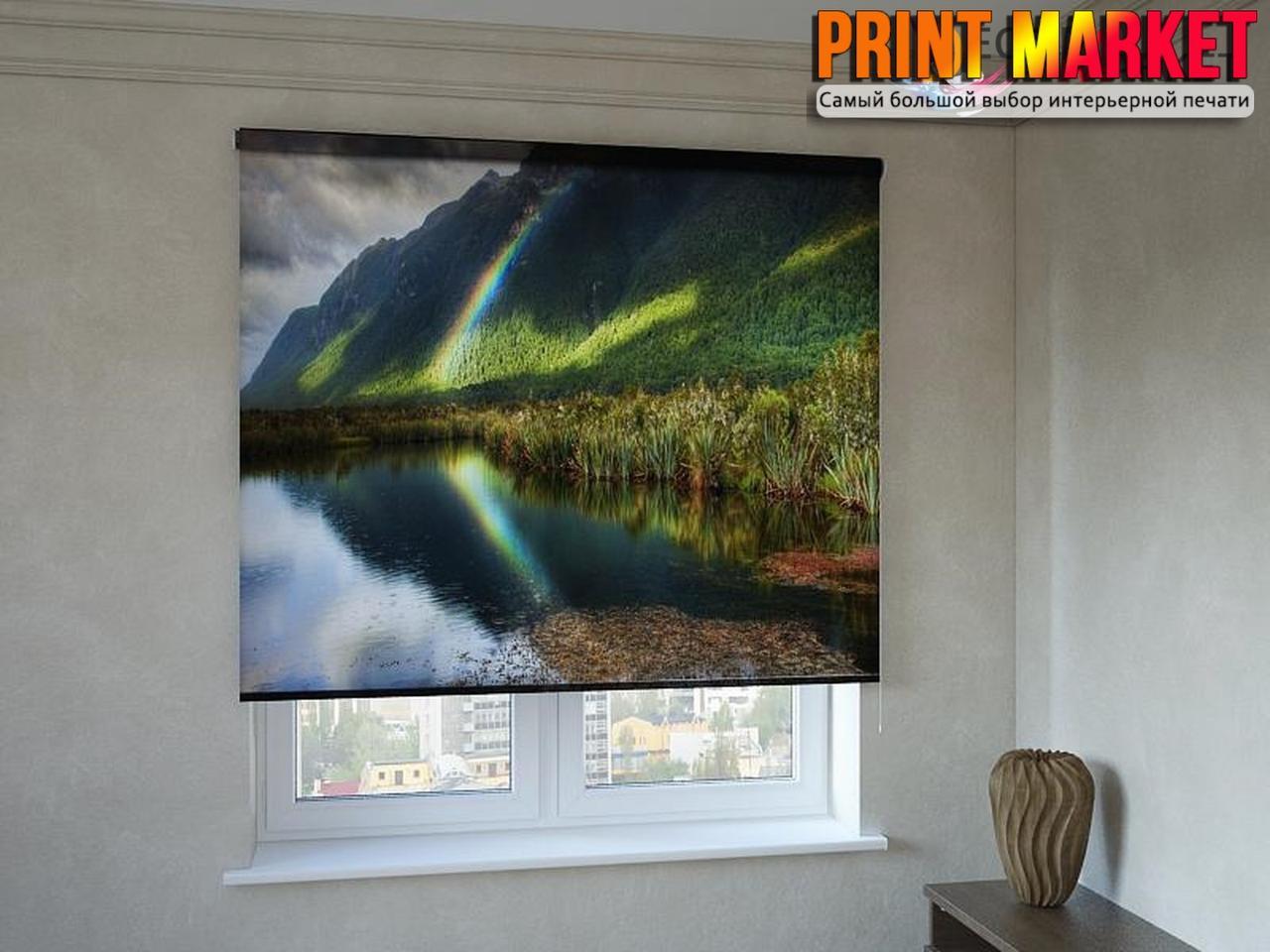 Рулонные шторы с фотопечатью озеро и горы