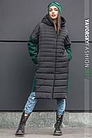 """Комбинированное зимнее пальто """"Съюзи"""" с капюшоном, на потайной застежке"""