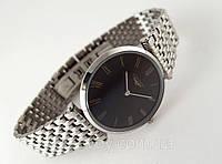 Мужские часы Longines - La Grande серебристые, тонкие, черный циферблат