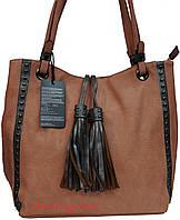 Мягкая женская сумка с кисточкой персиковая, фото 1