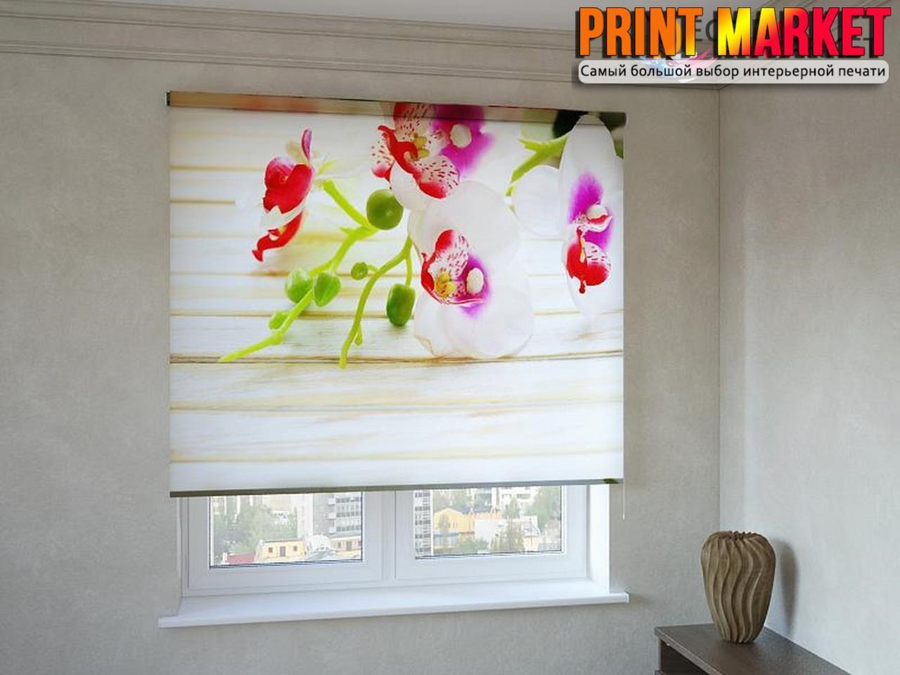 Рулонные шторы с фотопечатью орхидея 3Д