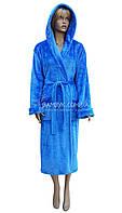 Длинный женский махровый халат с капюшоном Polar  № 14593