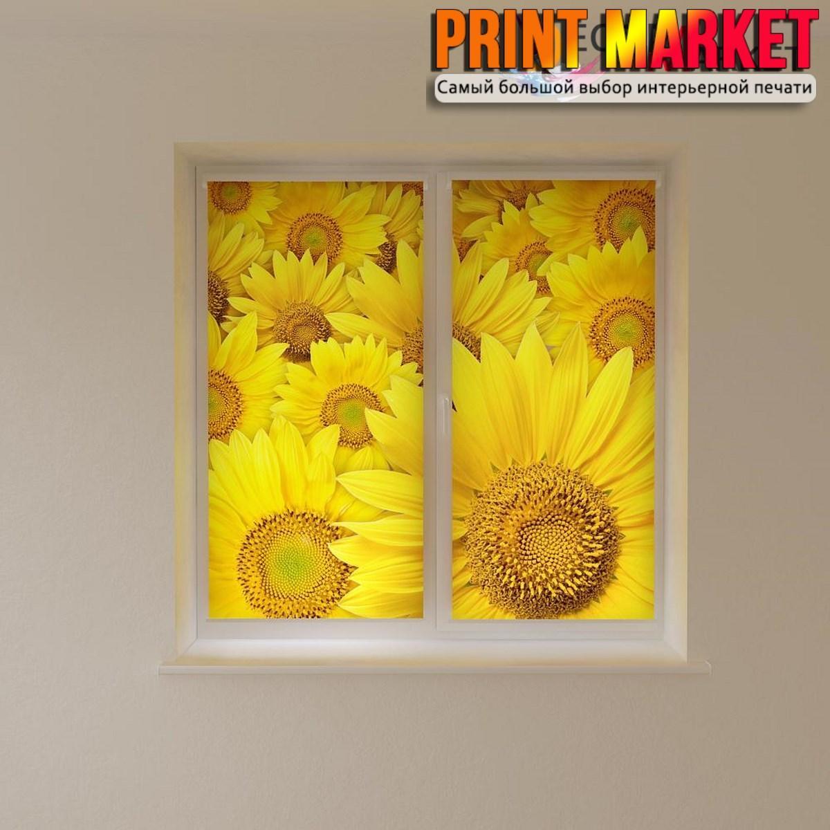 Рулонные шторы с фотопечатью большие желтые цветы