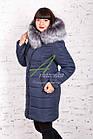 Модное женское пальто с мехом сезона зима 2017-2018 - (модель кт-37), фото 2