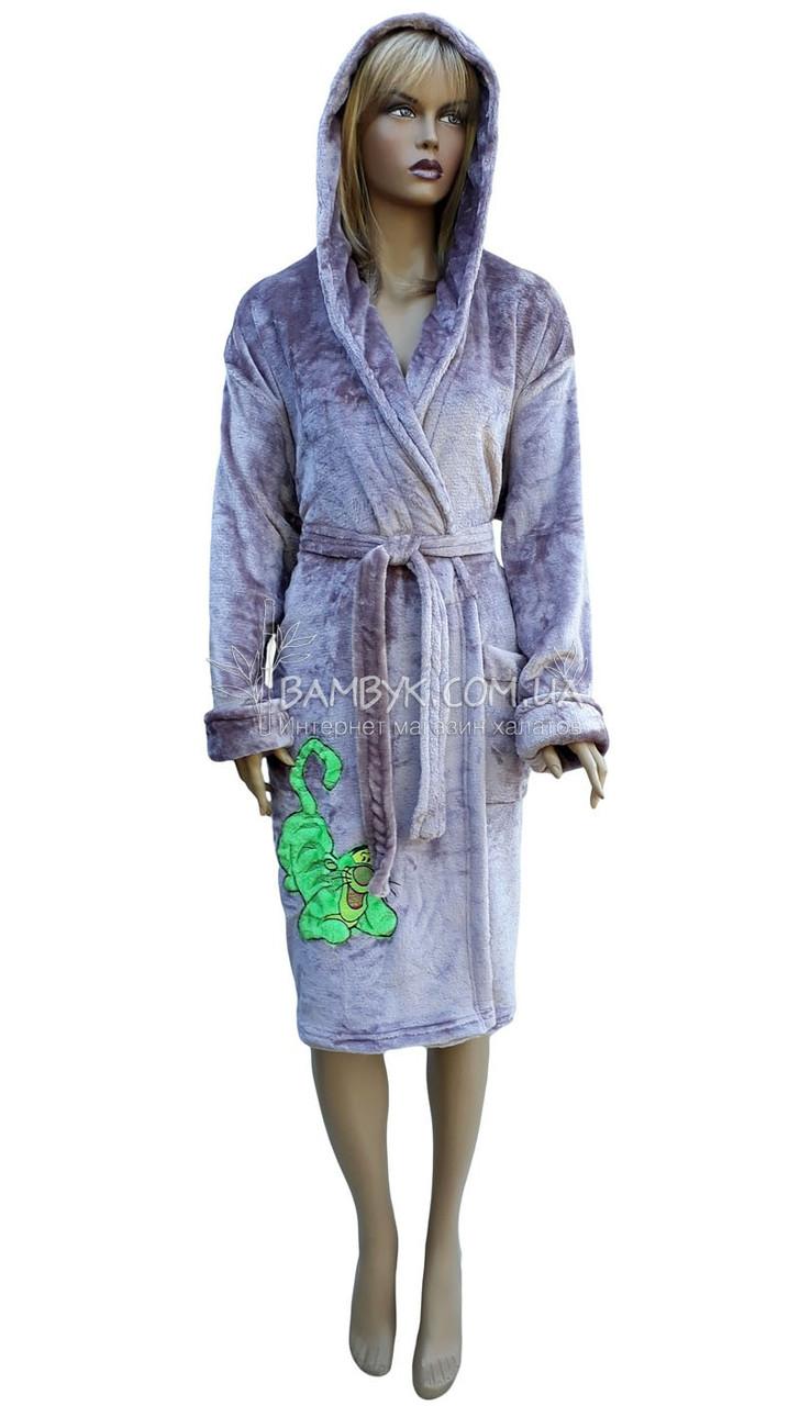 dfda9d0caa955 Халат женский махровый с капюшоном Polar № 77790 - интернет-магазин